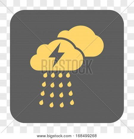 Thunderstorm Clouds interface toolbar button. Vector icon style is a flat symbol in a rounded square button yellow and gray colors chess transparent background.