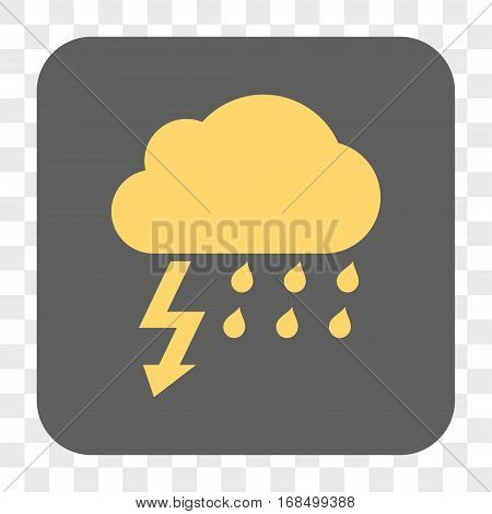 Thunderstorm interface toolbar button. Vector icon style is a flat symbol on a rounded square button yellow and gray colors chess transparent background.