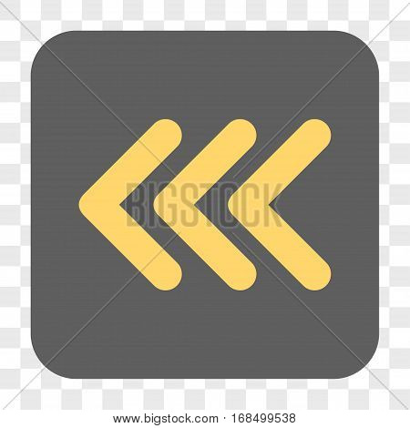 Triple Arrowhead Left interface toolbar button. Vector icon style is a flat symbol on a rounded square button yellow and gray colors chess transparent background.