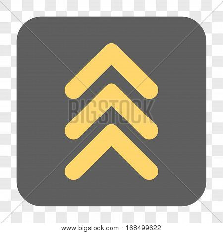 Triple Arrowhead Up interface toolbar button. Vector icon style is a flat symbol on a rounded square button yellow and gray colors chess transparent background.