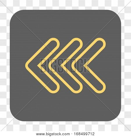 Triple Pointer Left interface toolbar button. Vector icon style is a flat symbol in a rounded square button yellow and gray colors chess transparent background.