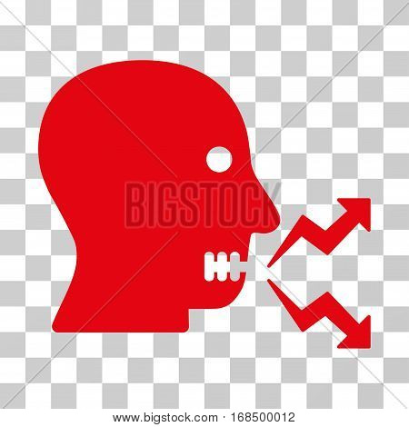 Angry Person Shout icon. Vector illustration style is flat iconic symbol, red color, transparent background. Designed for web and software interfaces.