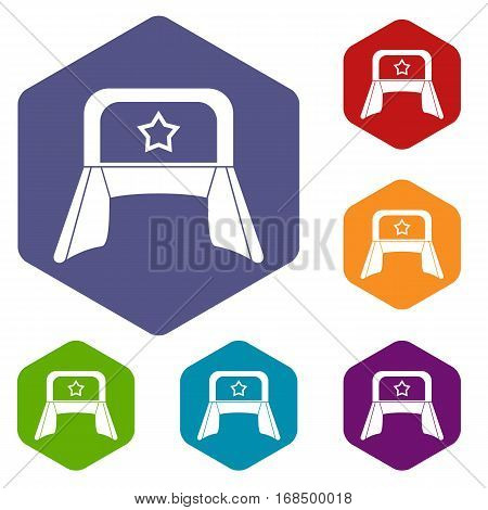 Hat with earflaps icons set rhombus in different colors isolated on white background