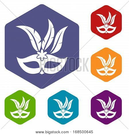 Carnival mask icons set rhombus in different colors isolated on white background