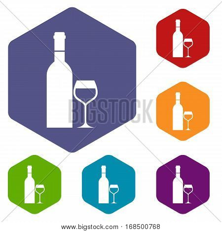 Glass and bottle of wine icons set rhombus in different colors isolated on white background