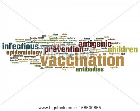 Vector concept or conceptual children vaccination or viral prevention abstract word cloud isolated on background metaphor to infectious antigenic, antibodies, epidemiology immunization or inoculation