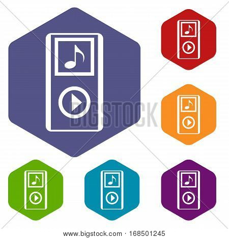 Mini MP3 portable player icons set rhombus in different colors isolated on white background