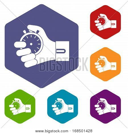 Hand holding stopwatch icons set rhombus in different colors isolated on white background