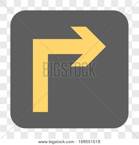 Turn Right interface toolbar button. Vector icon style is a flat symbol inside a rounded square button yellow and gray colors chess transparent background.