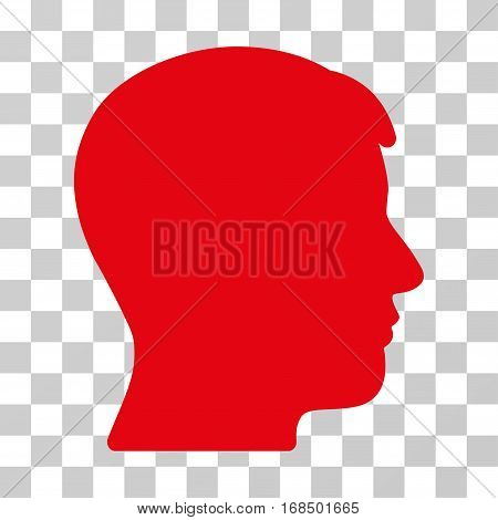 Man Profile icon. Vector illustration style is flat iconic symbol, red color, transparent background. Designed for web and software interfaces.