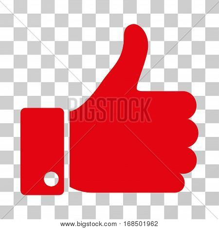 Thumb Up icon. Vector illustration style is flat iconic symbol, red color, transparent background. Designed for web and software interfaces.