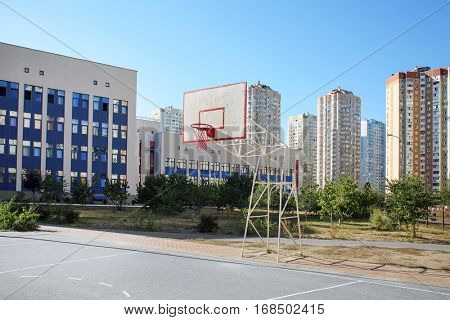 School yard with basketball court