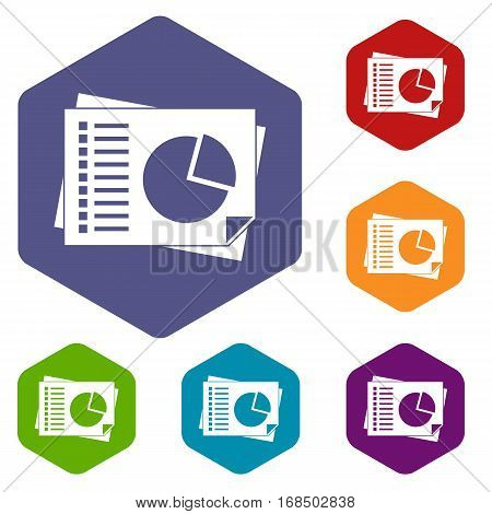 Sheets of paper with charts icons set rhombus in different colors isolated on white background