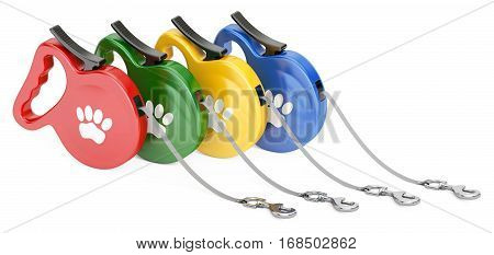 Set of Automatic Retractable Traction Ropes. Walking Lead Leashes for Pets 3D rendering isolated on white background