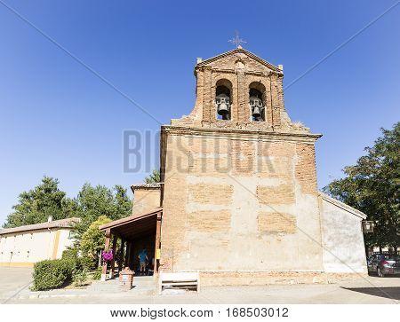 San Nicolas Obispo church in San Nicolás del Real Camino village, Palencia, Spain