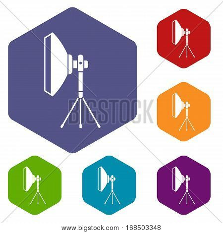 Studio lighting equipment icons set rhombus in different colors isolated on white background