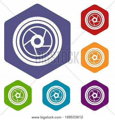Camera aperture icons set rhombus in different colors isolated on white background