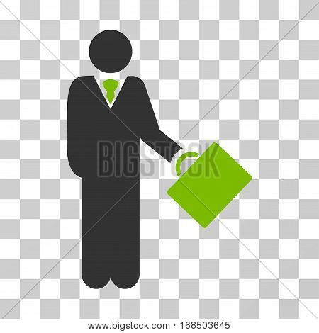 Businessman icon. Vector illustration style is flat iconic bicolor symbol, eco green and gray colors, transparent background. Designed for web and software interfaces.