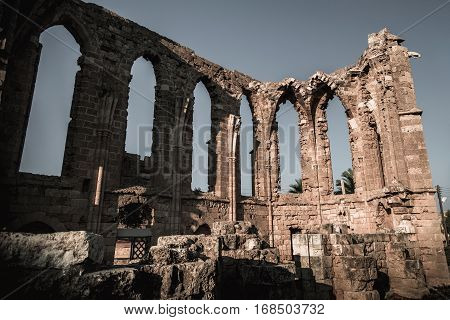 Ruins of the Church of St. George's of the Latins. Famagusta Cyprus.