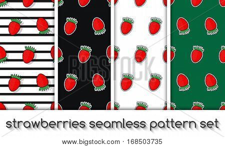 Set Of Strawberries Pattern, Seamless Texture, Wallpaper
