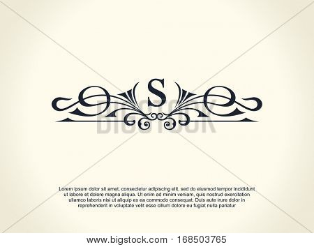 Calligraphic Luxury line logo. Flourishes elegant emblem monogram. Royal vintage divider design. Black symbol decor for menu card, invitation label, Restaurant, Cafe, Hotel. Vector line letter S
