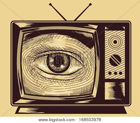 Illustration of an Eye Peering from a Vintage Television Set Drawn Using the Cross Hatching Technique