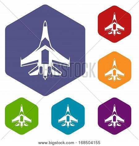 Jet fighter plane icons set rhombus in different colors isolated on white background