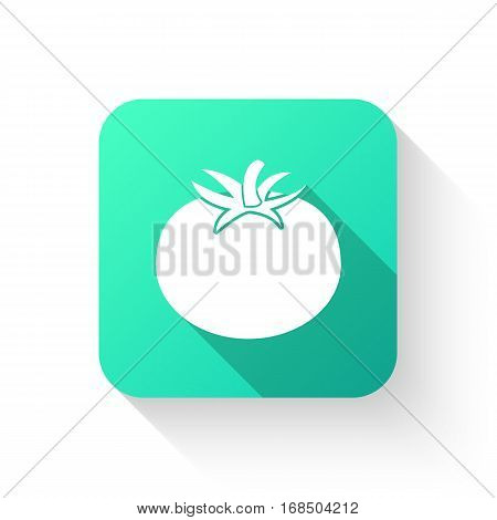 Tomato Icon In A Flat Style On  White Background