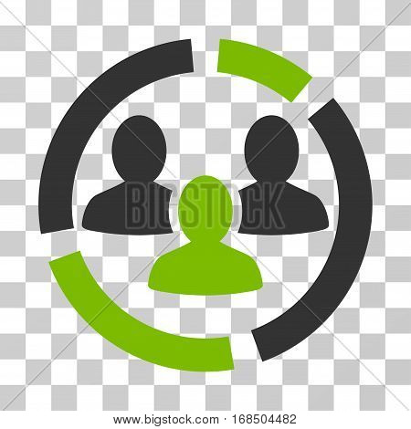 Demography Diagram icon. Vector illustration style is flat iconic bicolor symbol, eco green and gray colors, transparent background. Designed for web and software interfaces.
