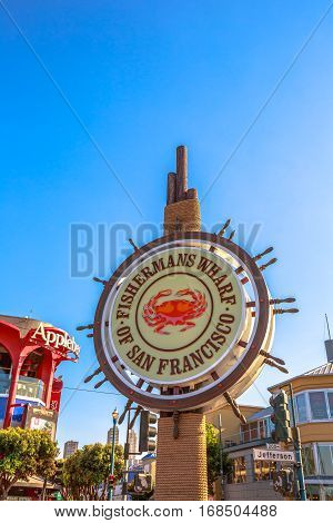 San Francisco, California, United States - August 14, 2016: Fisherman's Wharf of San Francisco with Dungeness crab symbol, fished from November to June in San Francisco Bay and served take aways.