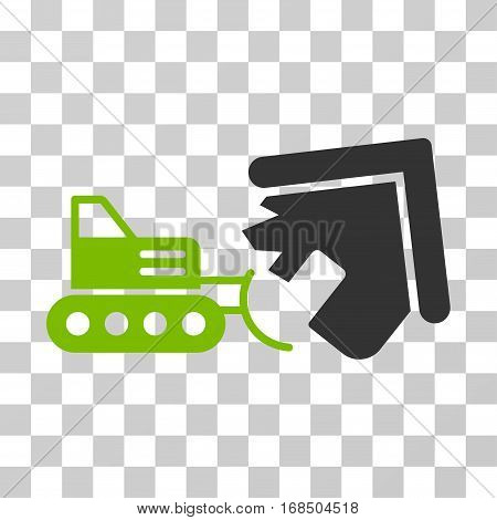 Demolition icon. Vector illustration style is flat iconic bicolor symbol, eco green and gray colors, transparent background. Designed for web and software interfaces.