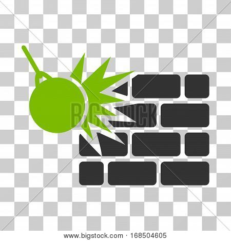Destruction icon. Vector illustration style is flat iconic bicolor symbol, eco green and gray colors, transparent background. Designed for web and software interfaces.