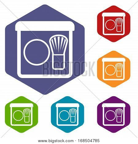 Rouge with brush icons set rhombus in different colors isolated on white background