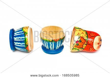 Russian toy matrioshka isolated on white background