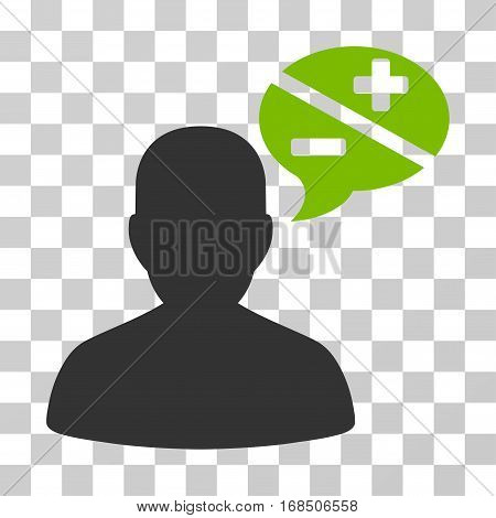 Person Arguments icon. Vector illustration style is flat iconic bicolor symbol, eco green and gray colors, transparent background. Designed for web and software interfaces.
