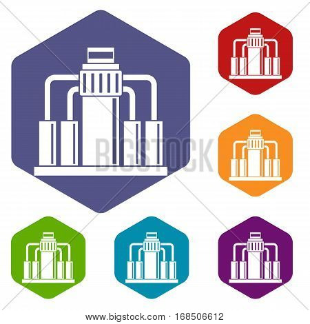 Oil refining icons set rhombus in different colors isolated on white background
