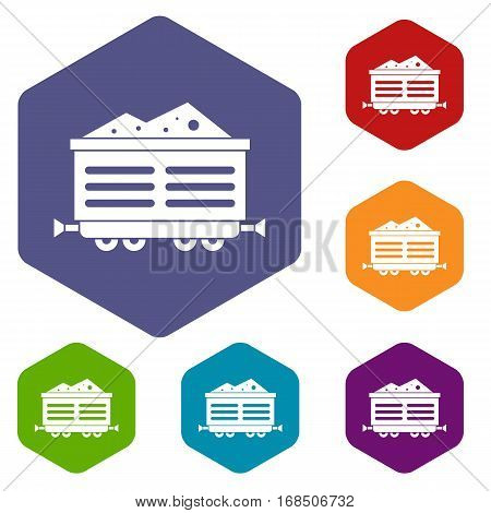 Train waggon with coal icons set rhombus in different colors isolated on white background