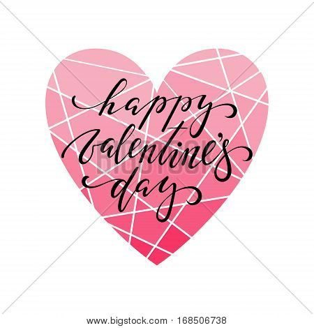 happy valentine's day Hand drawn calligraphy and brush pen lettering with frame border of red heart. design for holiday greeting card and invitation of the wedding Valentine's day and Happy love day. I love you.