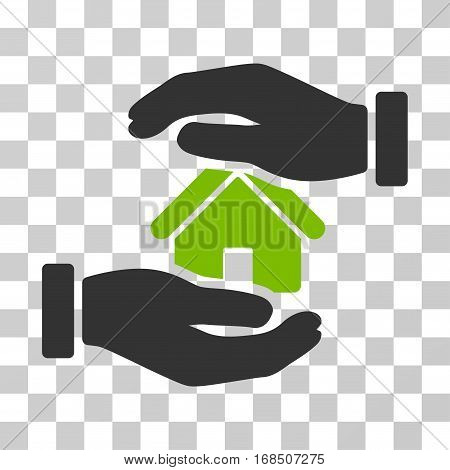 Realty Insurance icon. Vector illustration style is flat iconic bicolor symbol, eco green and gray colors, transparent background. Designed for web and software interfaces.