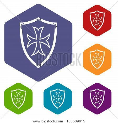 Protective shield icons set rhombus in different colors isolated on white background