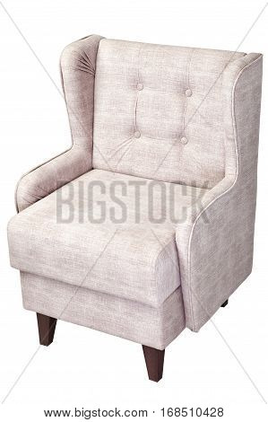 One beige chair upholstered fabric isolated on white background with clipping path.