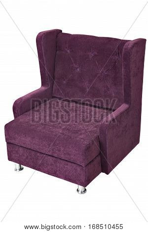 Single-seater sofa with purple fabric upholstered isolated on white background with clipping path.