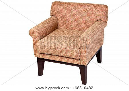 Wooden chair upholstered fabric of honey-colored isolated on white background with clipping path.