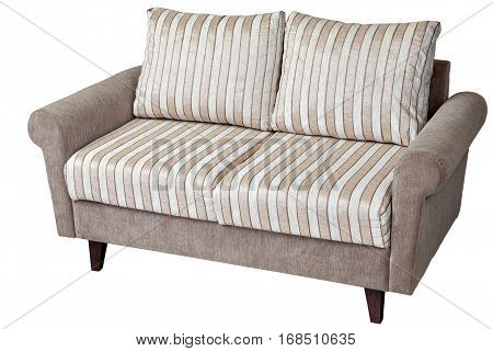Two seater modern sofa upholstered in fabric with pillows in striped material isolated on white background with clipping path.