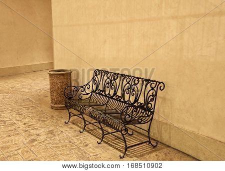 Metal empty bench