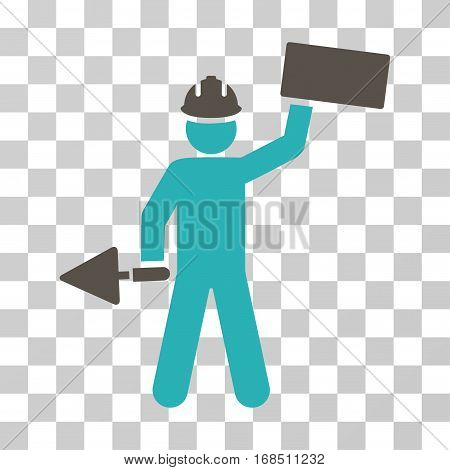 Builder With Brick icon. Vector illustration style is flat iconic bicolor symbol, grey and cyan colors, transparent background. Designed for web and software interfaces.