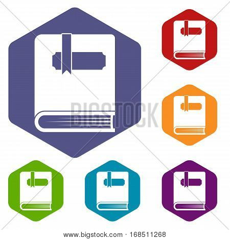 Thick book with bookmark icons set rhombus in different colors isolated on white background
