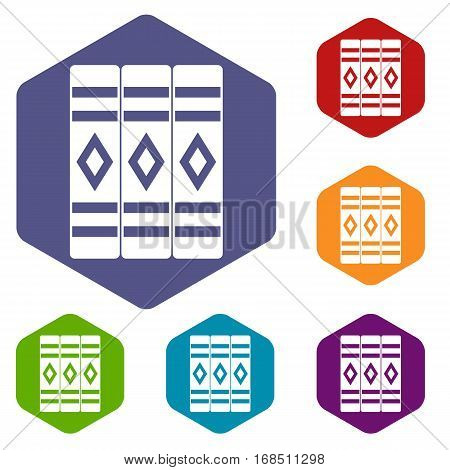 Three literary books icons set rhombus in different colors isolated on white background