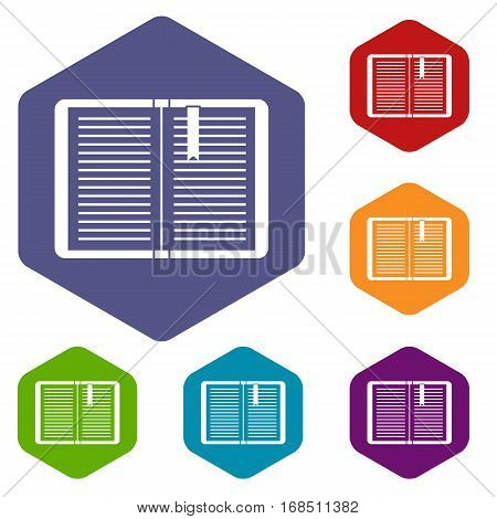 Open tutorial with bookmark icons set rhombus in different colors isolated on white background