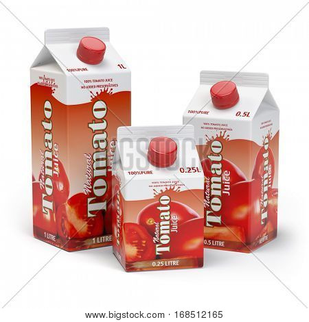 Tomato juice carton cardboard box pack isolated on white background. 3d illustartion